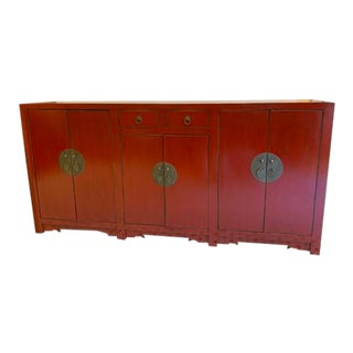 Asian Style Red Long Buffet Table For Sale