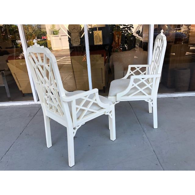 Art Deco 1970s Vintage Palm Beach Regency Chinoiserie Pagoda Arm Chairs- A Pair For Sale - Image 3 of 10