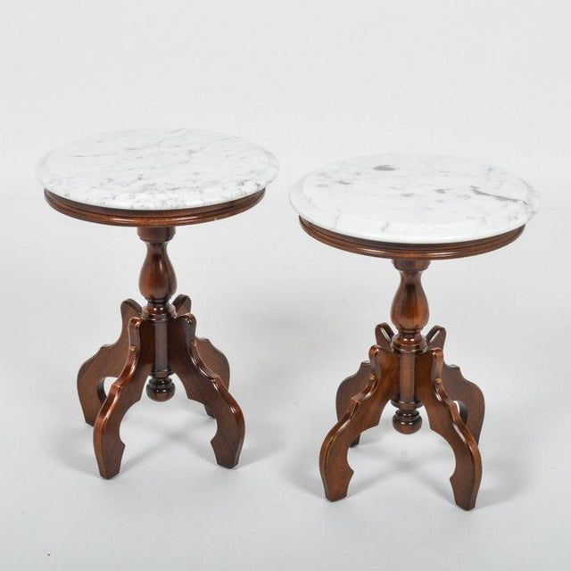 Italian Marble-Top Accent Side Tables - a Pair For Sale - Image 12 of 12