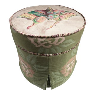 French Country Style Carol Hicks Bolton for Ej Victor Artisan Ottoman Stool For Sale