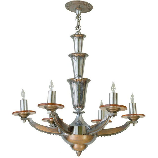 1930s French Deco Chrome-Plated Chandelier by Petitot For Sale - Image 11 of 11