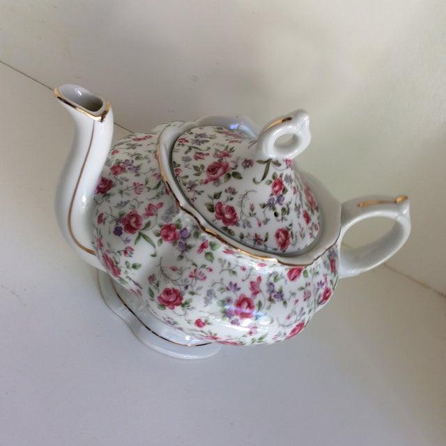 Vintage Rose Chintz Musical Tea Pot by Lefton For Sale - Image 12 of 13