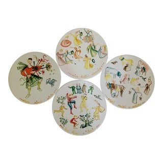 Vintage Italian Large 12 Days of Christmas Hand-Painted Serving Plates- Set of 4 For Sale