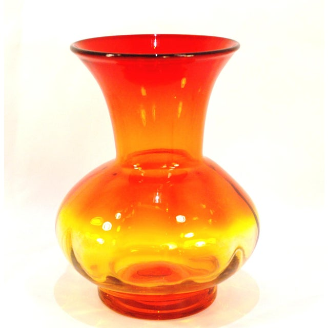 Mid-Century Glass! A bold bright pop of light and color! A Blenko Glass vase in hot tangerine and amber yellow. Hand blown...