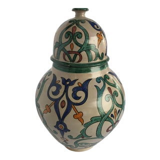 Moroccan Handcrafted Ceramic Lidded Urn From Fez With Moorish Design For Sale