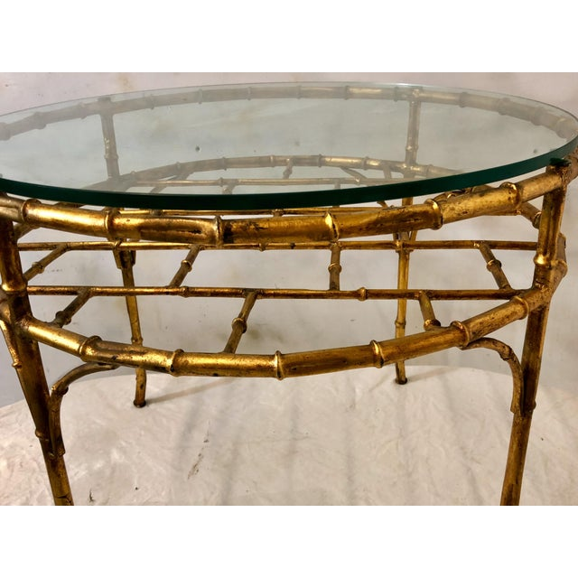 Hollywood Regency Gilt Metal Faux Bamboo Coffee Table For Sale - Image 3 of 6