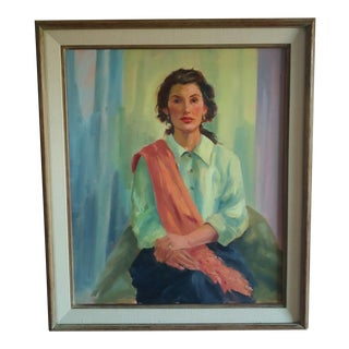 1980s Vintage Seated Woman Portrait Painting For Sale