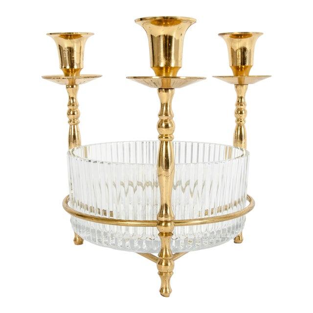 Cut Crystal / Gilt Brass Holding Candlestick Decorative Piece For Sale