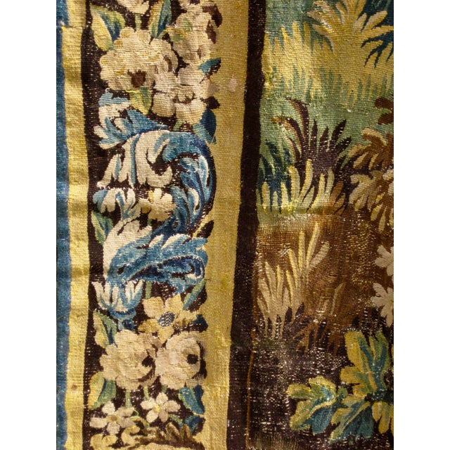 Silk 18th Century Flemish Verdure Tapestry Wall Hanging For Sale - Image 7 of 13
