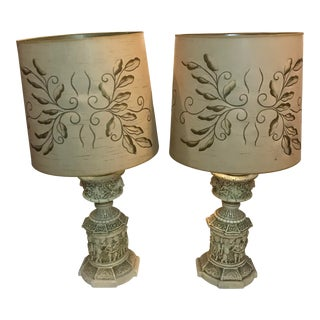Neoclassical Beige Cherub and Lion Columnar Table Lamps - a Pair For Sale