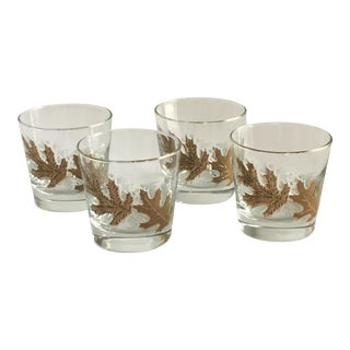 Culver Ltd. Gold Leaf Low Ball Glasses - Set of 4 For Sale