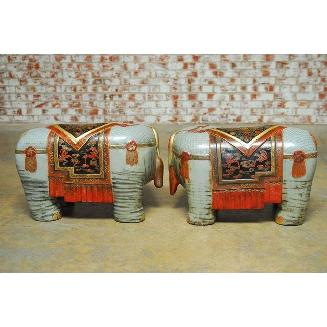 Chinese Carved Polychrome Elephant Stools - A Pair - Image 10 of 10