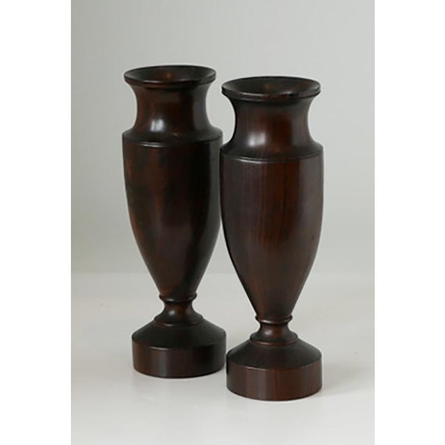 1930s Antique Turned Wood Urns - Pair For Sale - Image 5 of 5