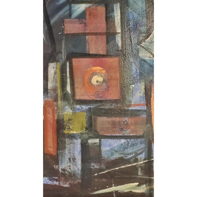 "Mid-Century Modern ""Bridges"" Oil on Masonite Painting For Sale - Image 3 of 6"