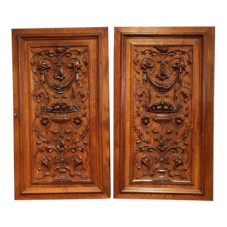 Large Pair of 19th Century French Carved Walnut Cabinet Doors With Lock For Sale