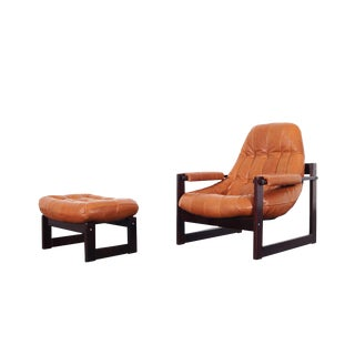Brazilian Leather Lounge Chair and Ottoman by Percival Lafer For Sale