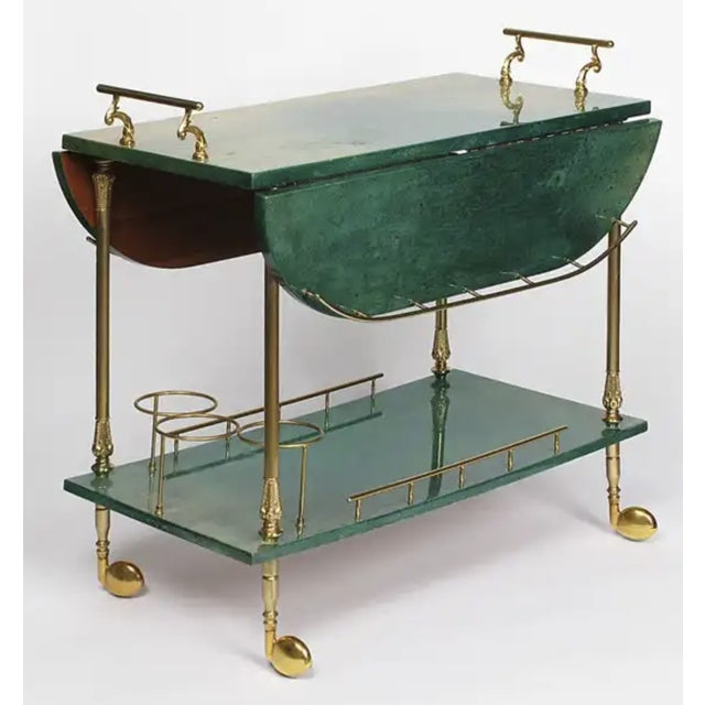 Regency Aldo Tura Bar Cart For Sale - Image 3 of 4