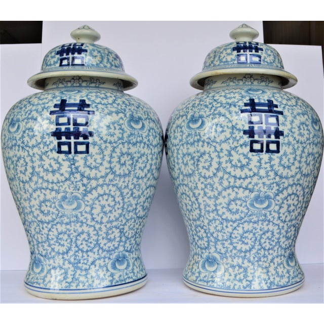 Chinoiserie Vintage Happiness Ginger Jar Vases - a Pair For Sale - Image 3 of 7