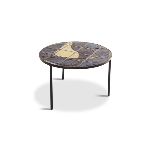 French Mid-Century Coffee Table With Black Steel Frame & Mosaic Inlay For Sale - Image 3 of 7