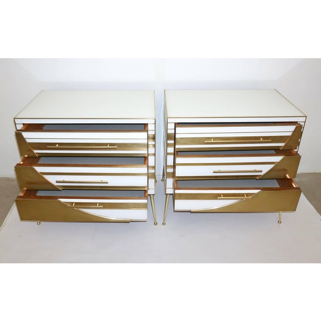 Contemporary Italian Gold Brass and White Cream Glass Chests Side Tables - a Pair For Sale - Image 4 of 9
