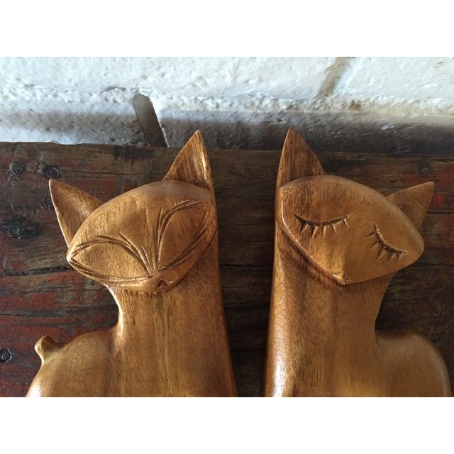 Carved Wood Cats - A Pair - Image 8 of 8