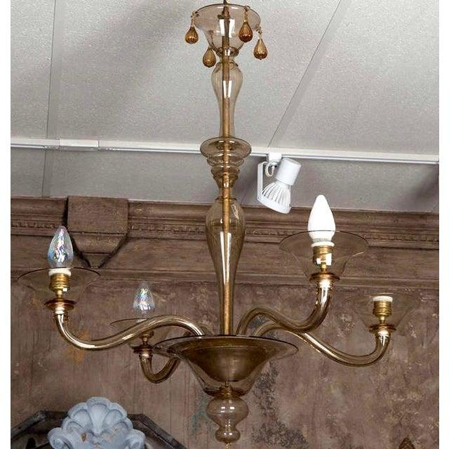 Italian Mid Century Venini Amber Murano Glass Chandelier - Image 3 of 6