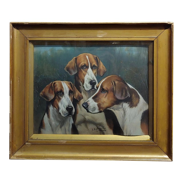 John Arnold Alfred Wheeler -Three English Fox Hounds -19th Century Oil Painting For Sale