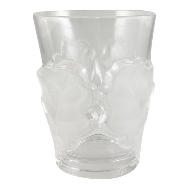 Vintage Lalique Chene Double Old Fashioned Whiskey Glass, Signed For Sale