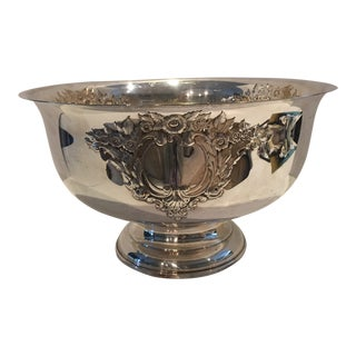 Vintage Silverplate Punch Bowl Embossed Flowers For Sale
