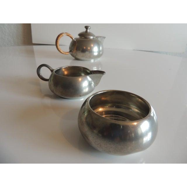 Wicker Vintage Decorative Pewter Tea Set. For Sale - Image 7 of 10