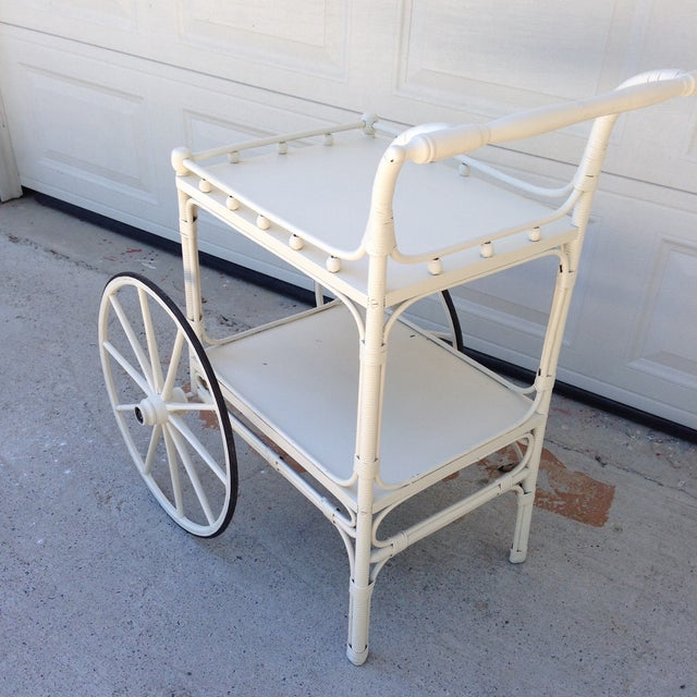 Vintage Heywood-Wakefield Wicker Bar Cart - Image 3 of 6