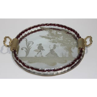 Murano Etched Glass Vanity Table Round Tray With Red Twist Detail by Barovier Et Toso Preview