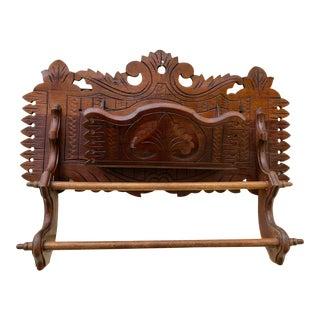1890 Victorian Eastlake Carved Mahogany Openwork Towel Rack W/ Pocket Shelf For Sale