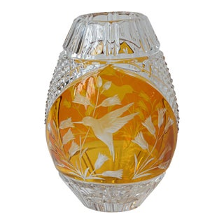Vintage Amber Crystal Vase With Hummingbird