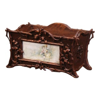 19th Century French Black Forest Carved Walnut and Porcelain Jardinière For Sale