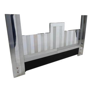 Mid-Century Modern King Size Cityscape Style Headboard After Paul Evans For Sale