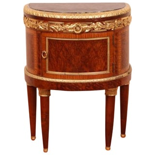 Walnut Veneer & Marble Top Demi-Lune Commode For Sale