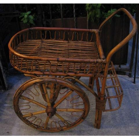 French Riviera Rattan Bar Cart From the 1950s For Sale In New York - Image 6 of 8