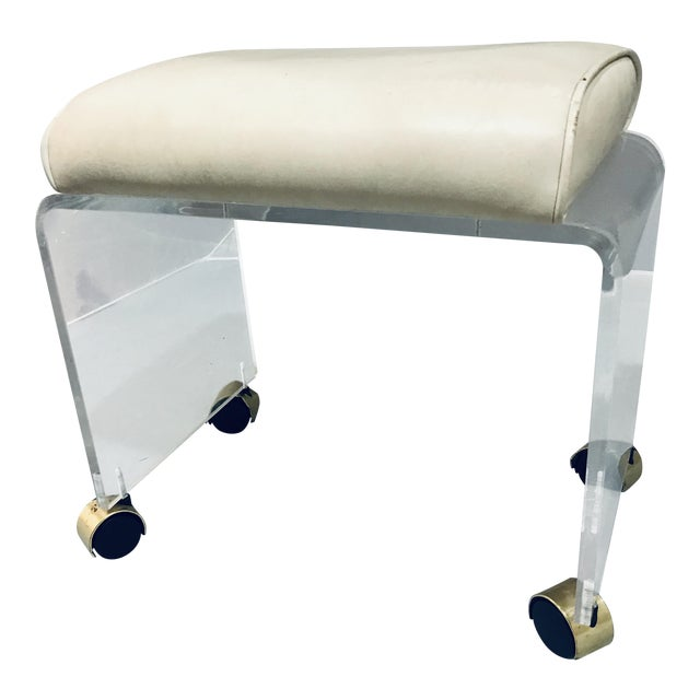 1970s Vintage Lucite Vanity Bench Stool For Sale