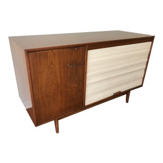 Jens Risom Walnut and White Pull-Down Tambour Console With Locking Door