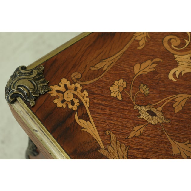 Vintage 1920s Highly Inlaid French Louis XV Games Table For Sale - Image 4 of 13