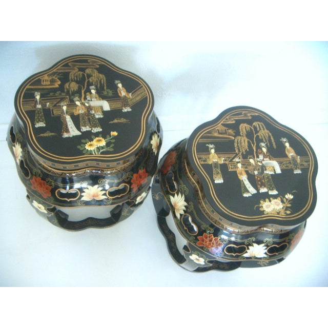Hand painted vintage black lacquer, high gloss Chinese stools, side tables or display pedestals. These Chinoiserie style...