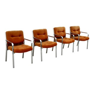 Chromcraft Mid Century Modern Orange Dining Chairs - Set of 4 For Sale