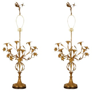Floral Table Lamps - A Pair For Sale