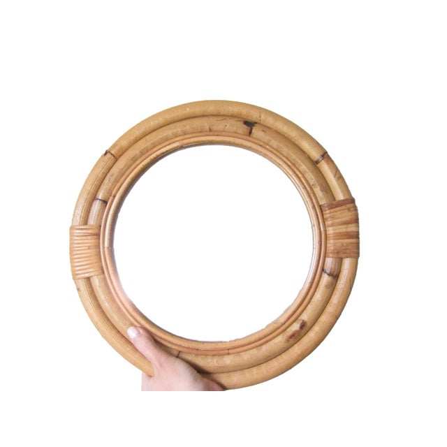 Bamboo 1970s Vintage Bamboo Circle Rattan Wall Mirror For Sale - Image 7 of 8