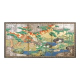 Image of Japanese Meiji Six Panel Screen Ducks in Autumn Landscape For Sale