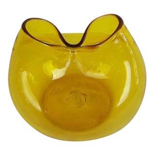 Vintage Blenko Yellow Pinched Glass Ivy Vase