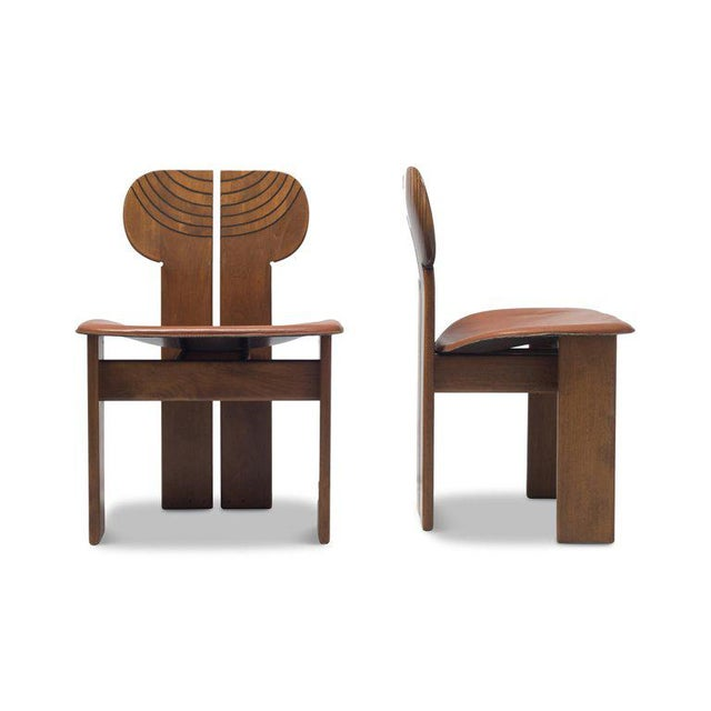 Animal Skin Africa Chairs by Afra and Tobia Scarpa With Cognac Leather Seating For Sale - Image 7 of 12