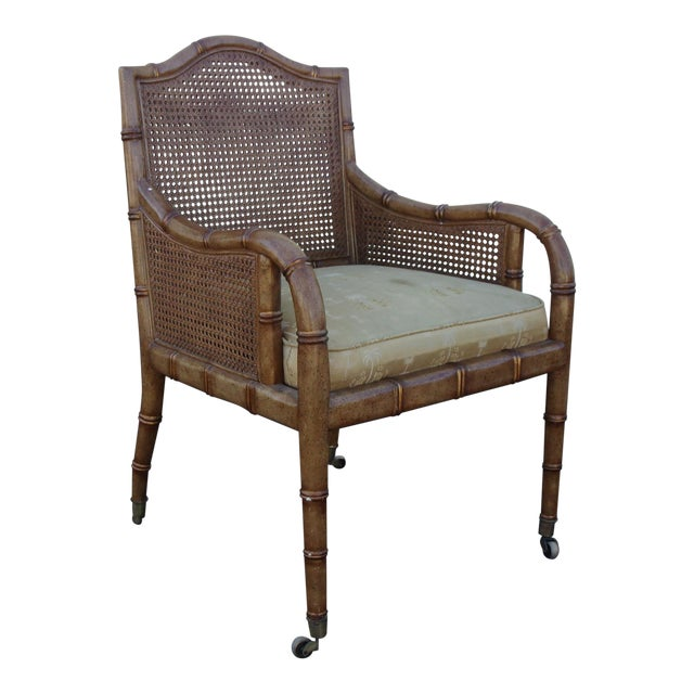 Vintage Faux Bamboo & Cane Chair For Sale