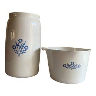 Classic Vintage Corning Blue & White Kitchen Vessels, Set of Two For Sale